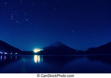 Inverted image of Mt. Fuji at night