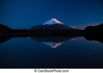 Inverted image of Mt. Fuji, morning