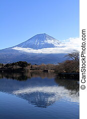 inverted image of Mt. Fuji, view from Tanuki lake, Shizuoka,...