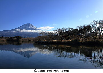 inverted image of Mt. Fuji, view from Tanuki lake, Shizuoka,...