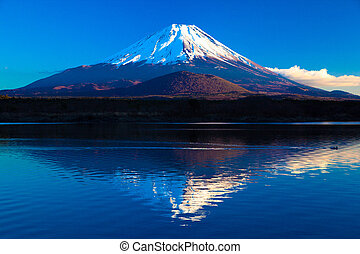 Inverted image of Mt.Fuji - A World Heritage mount Fuji and...