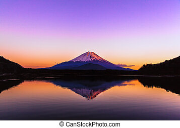 Inverted image of Mt.Fuji, sunrise