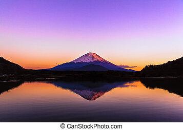 Inverted image of Mt.Fuji, sunrise