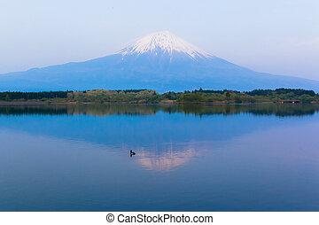 Inverted Mt Fuji reflected in Lake