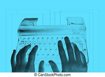 inverted, retro, typemachine