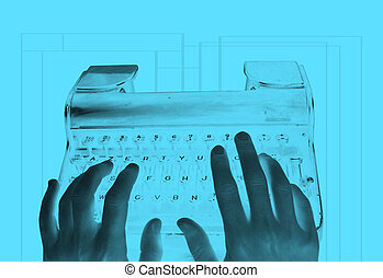 An inverted image of hands typing on an old-fashioned retro typewriter