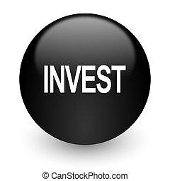 invest black glossy internet icon
