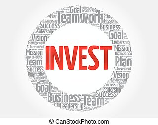 Invest circle word cloud, business concept