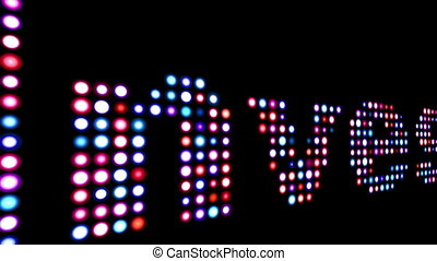 Invest colorful led text over balck