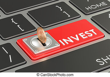 Invest concept, red keyboard button. 3D rendering