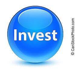 Invest glassy cyan blue round button