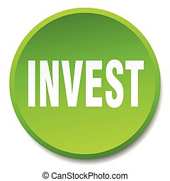 invest green round flat isolated push button