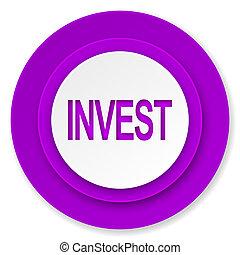 invest icon, violet button