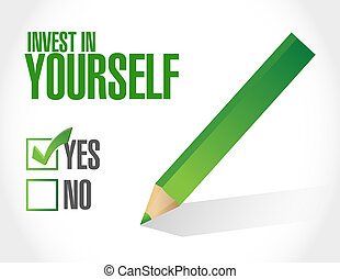 invest in yourself approval sign message illustration design...