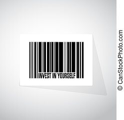 invest in yourself barcode sign message illustration design...