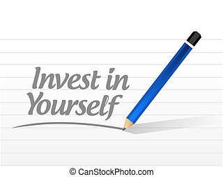 invest in yourself sign message illustration design graphic