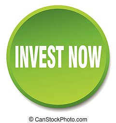 invest now green round flat isolated push button
