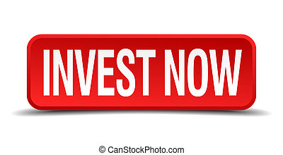 invest now red 3d square button on white background