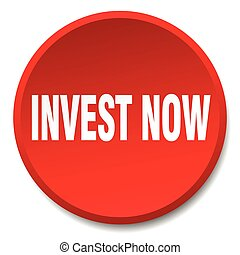 invest now red round flat isolated push button