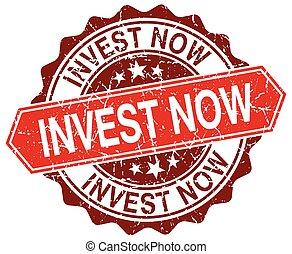 invest now red round grunge stamp on white