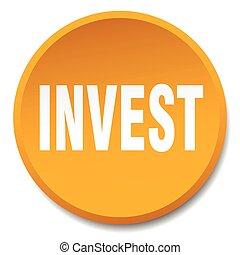 invest orange round flat isolated push button