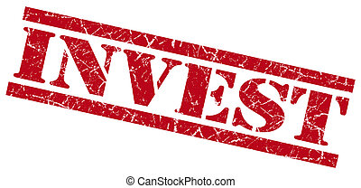 invest red grungy stamp on white background