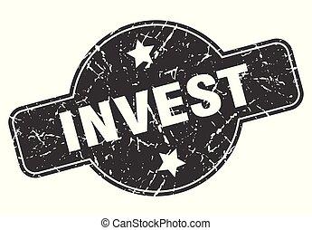 invest round grunge isolated stamp