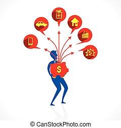 invest saving money concept
