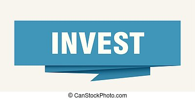 invest sign. invest paper origami speech bubble. invest tag....
