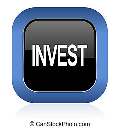 invest square glossy icon