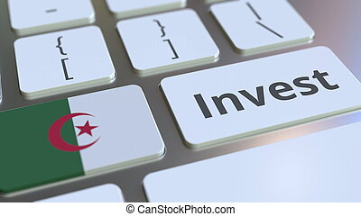 INVEST text and flag of Algeria on the buttons on the computer keyboard. Business related conceptual 3D rendering