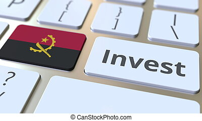 INVEST text and flag of Angola on the buttons on the computer keyboard. Business related conceptual 3D rendering