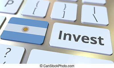 INVEST text and flag of Argentina on the buttons on the computer keyboard. Business related conceptual 3D rendering