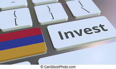 INVEST text and flag of Armenia on the buttons on the computer keyboard. Business related conceptual 3D rendering