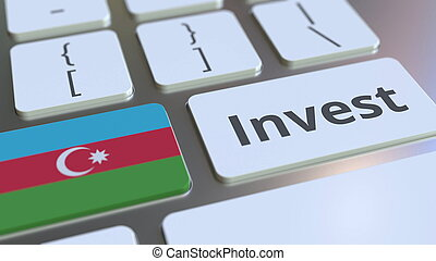 INVEST text and flag of Azerbaijan on the buttons on the computer keyboard. Business related conceptual 3D rendering