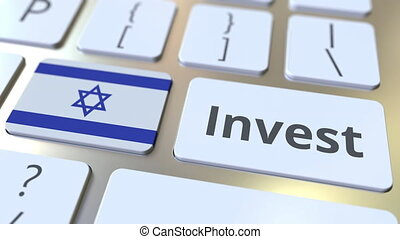 INVEST text and flag of Israel on the buttons on the...