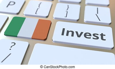 INVEST text and flag of the Republic of Ireland on the...