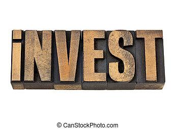 invest word in vintage wood type