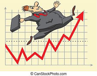 investeerder, gelukkig, markt, liggen