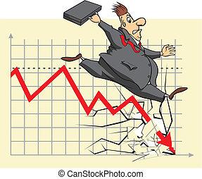 investeerder, ongelukkig, markt, liggen