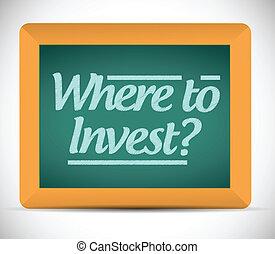 investeren, boodschap, waar, bord
