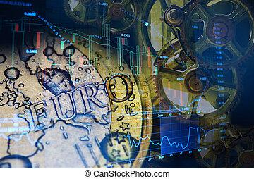 investeren, concept, eurobiljet