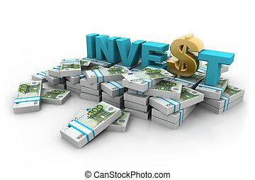 investeren, dollar, eurobiljetten