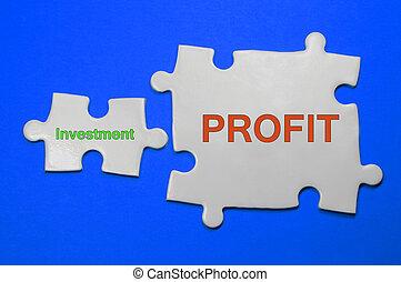 investering, begrepp, affär, profit, text, -