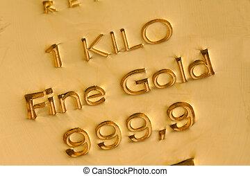 investering, in, echte, goud, dan, gouden ongemunt goud, en,...
