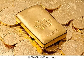 investering, in, verklig, guld, än, guld guldtacka
