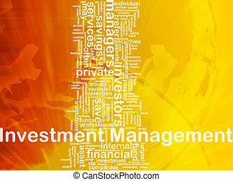 investering, management, achtergrond, concept