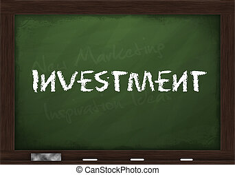 investering, op, chalkboard