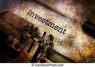 investering, text, på, årgång, skrivmaskin
