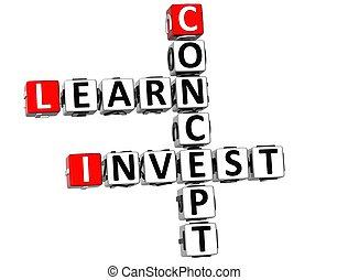 investieren, begriff, 3d, lernen